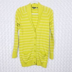 Vince Yellow Striped Cardigan